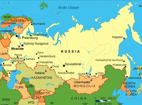 Map of Russia (Russian Federation)